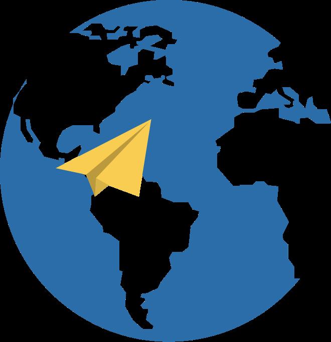 Imagen con fondo azul con la silueta del globo terráqueo y un avión de papel amarillo en primer plano